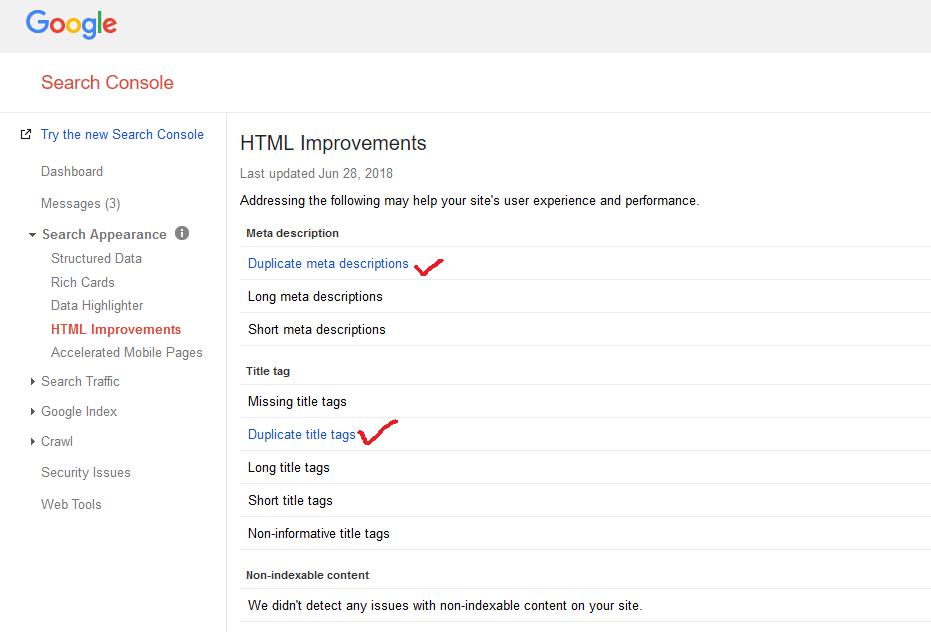 Google Search Console Duplicate Content