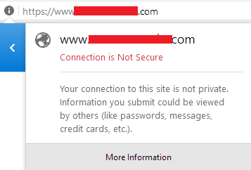connection is not secure showing on browser