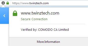 SSL certificate on twinztech website