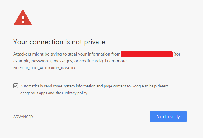 Insecure website warning on Google Chrome browser
