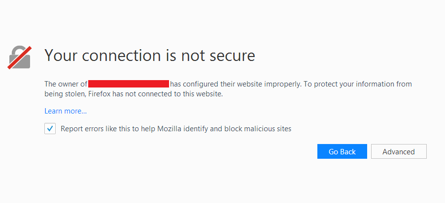 Insecure website warning on Mozilla Firefox browser