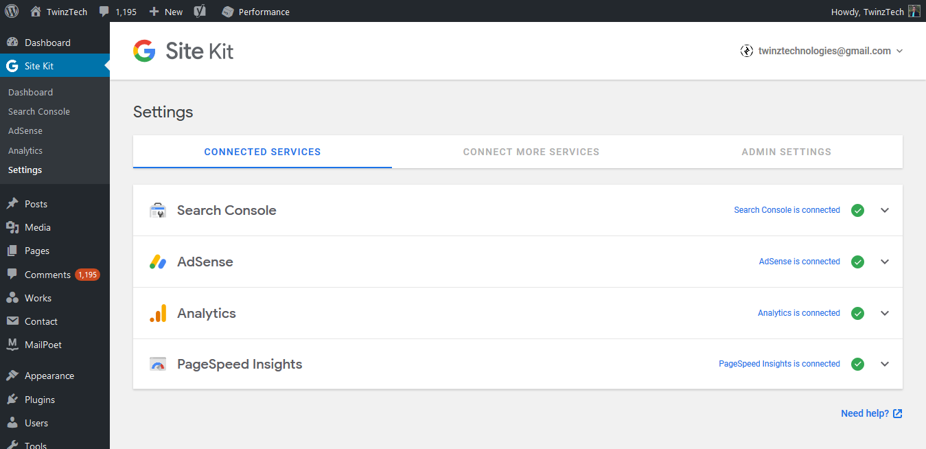 Google data insights and metrics services