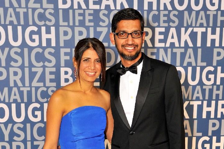 Sundar Pichai with his wife Anjali Pichai