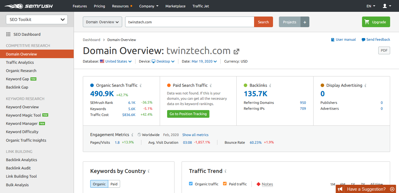 SEMrush TwinzTech Domain Overview Report