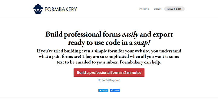 Formbakery · Build professional forms and export PHP code