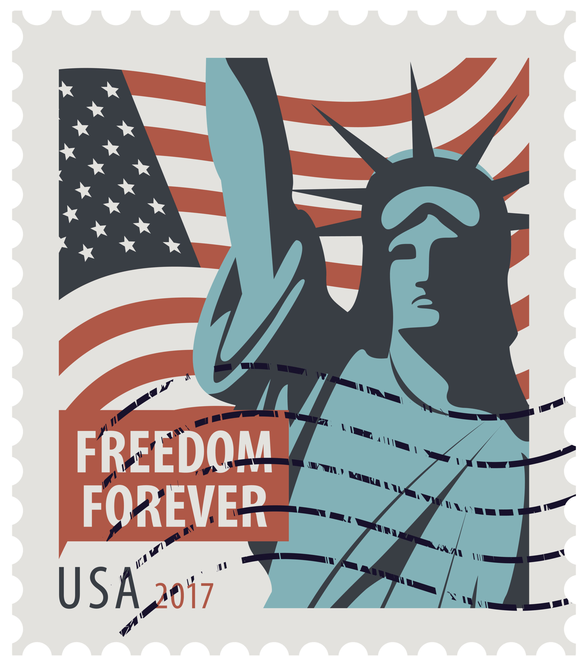 Postage stamp with New York Statue of Liberty, the flag of United States of America and the word freedom forever. Vector illustration of USA stamp with a rubber stamp.