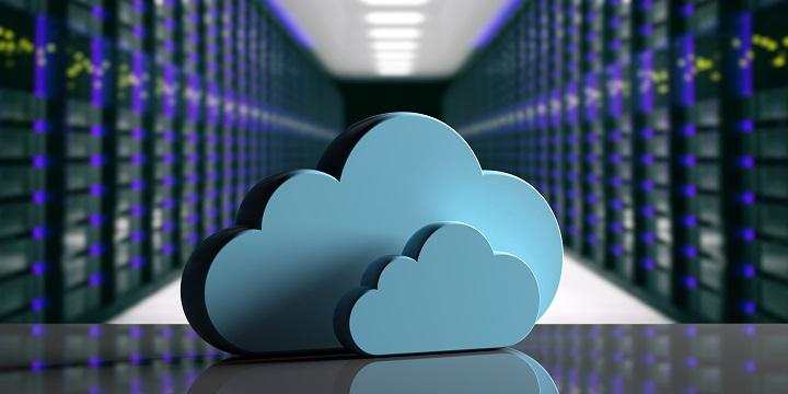 Cloud computing data center. Storage cloud on computer data center background. 3d illustration